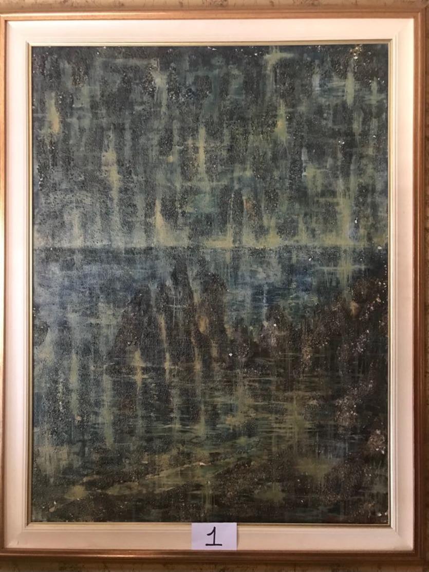 """OPERA DELL'ARTISTA NINO PARLAGRECO """"ATMOSFERE"""" POLIMATERICO ASTRATTO 60X80 DEL 1963 - Acrilici"""