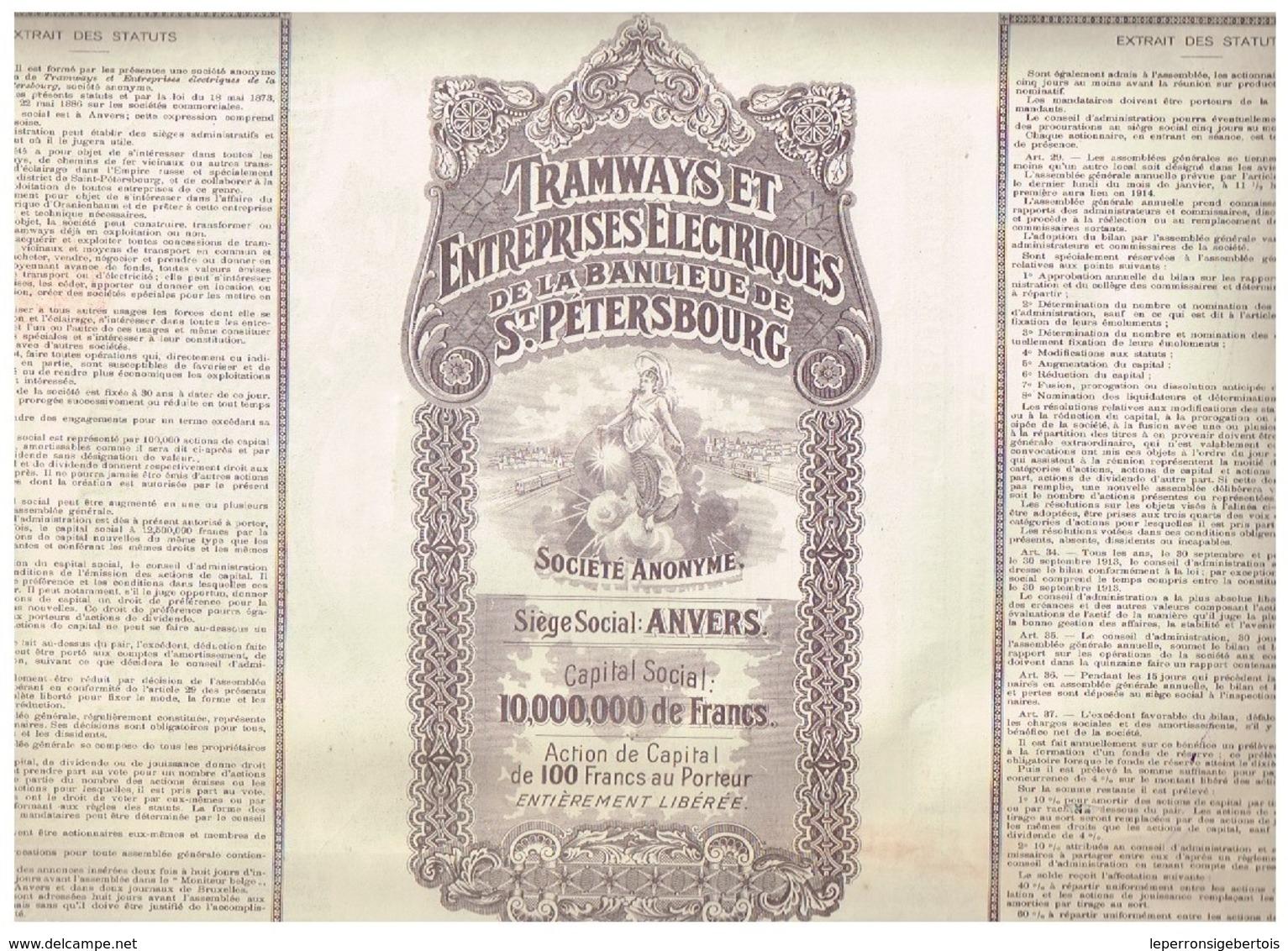 Ancienne Action - Tramways Et Entreprises Electriques De La Banlieue De St-Pétersbourg - Titre De 1912 - N° 089129 - Chemin De Fer & Tramway