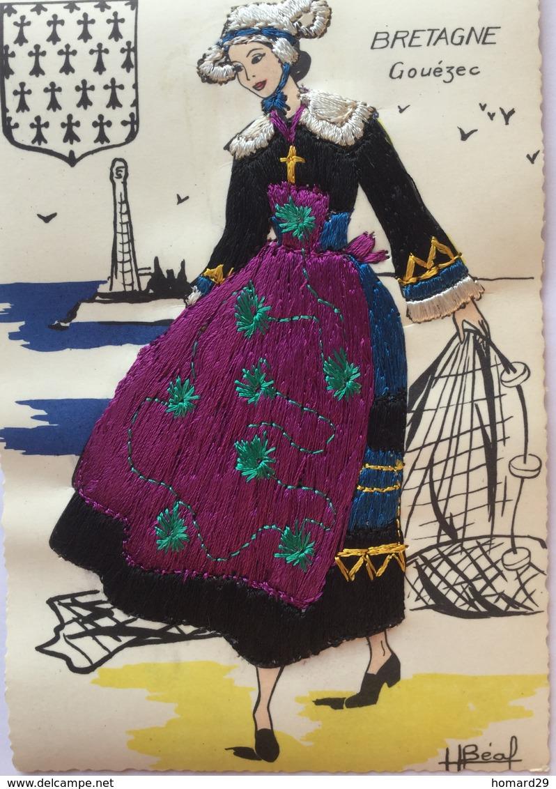 Gouezec- Carte Brodée..Costume Local - Gouézec