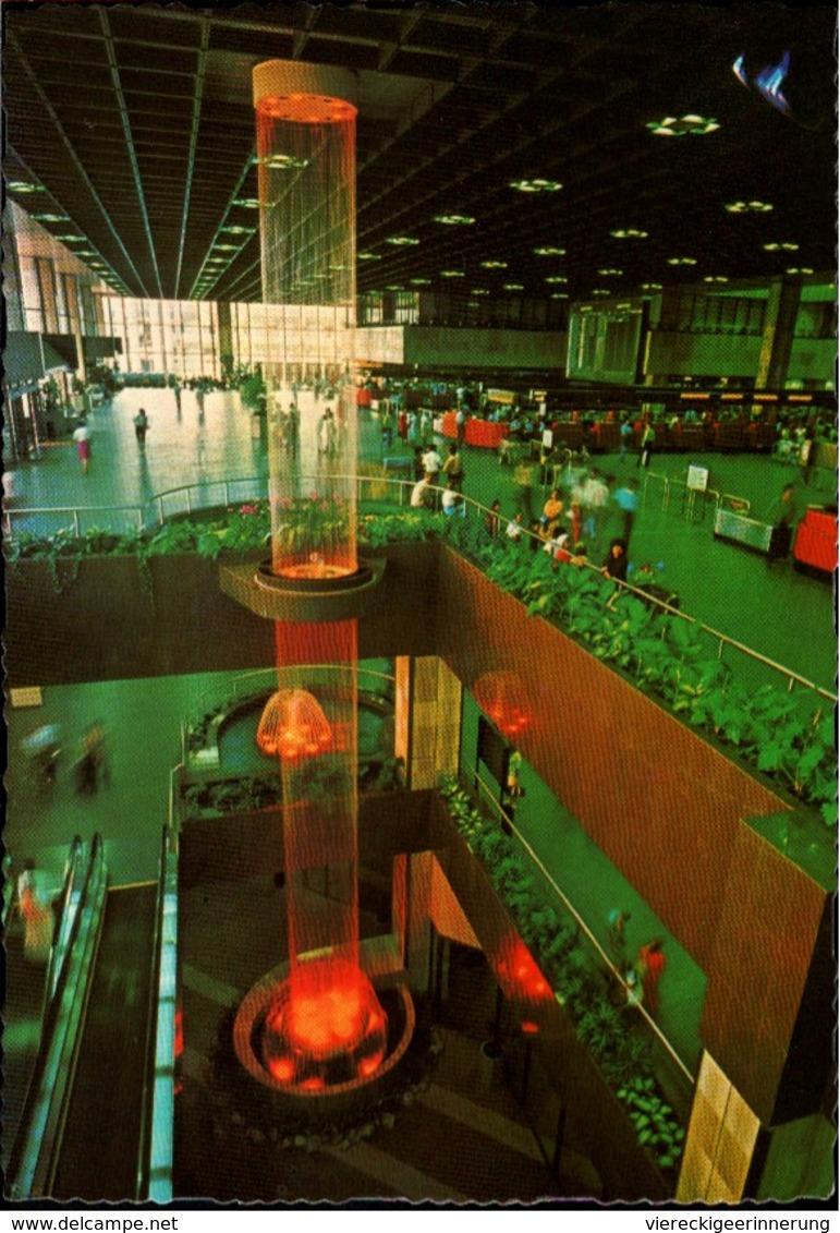 ! Mod. Ansichtskarte Changi Airport Singapore, Singapur Flughafen, Aerodrome, Passenger Terminal, 1982, Brunnen Fountain - Singapur