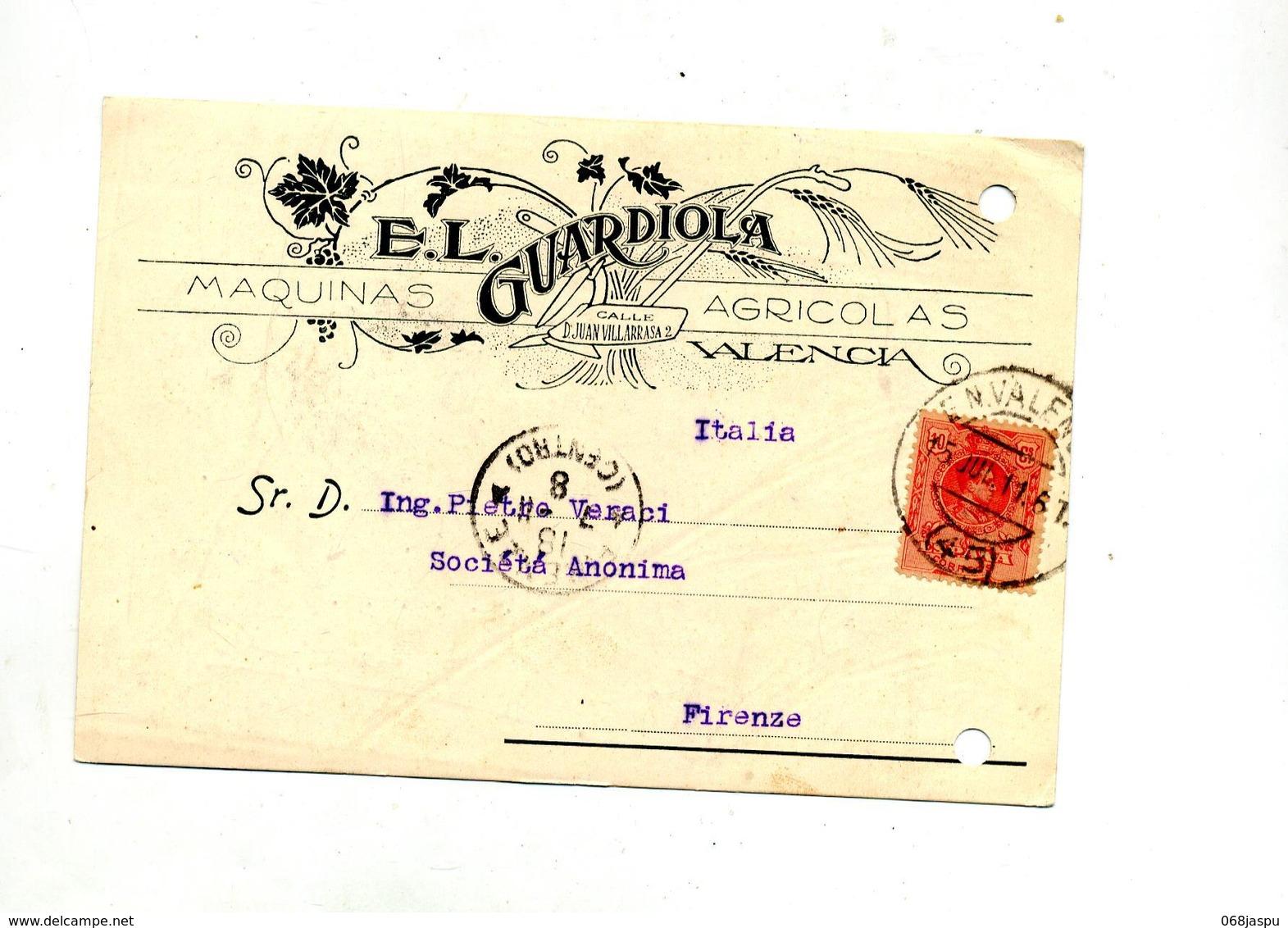 Carte Cachet Valencia Sur Roi + Florence  Illustré Machine Agricole - Marcofilia - EMA ( Maquina De Huellas A Franquear)
