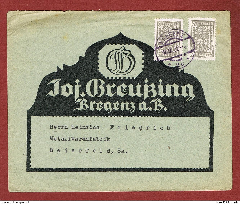 Infla Ab 18 Sept. 1922 Brief Ersttag  Bregenz - Bielefeld - 1918-1945 1. Republik