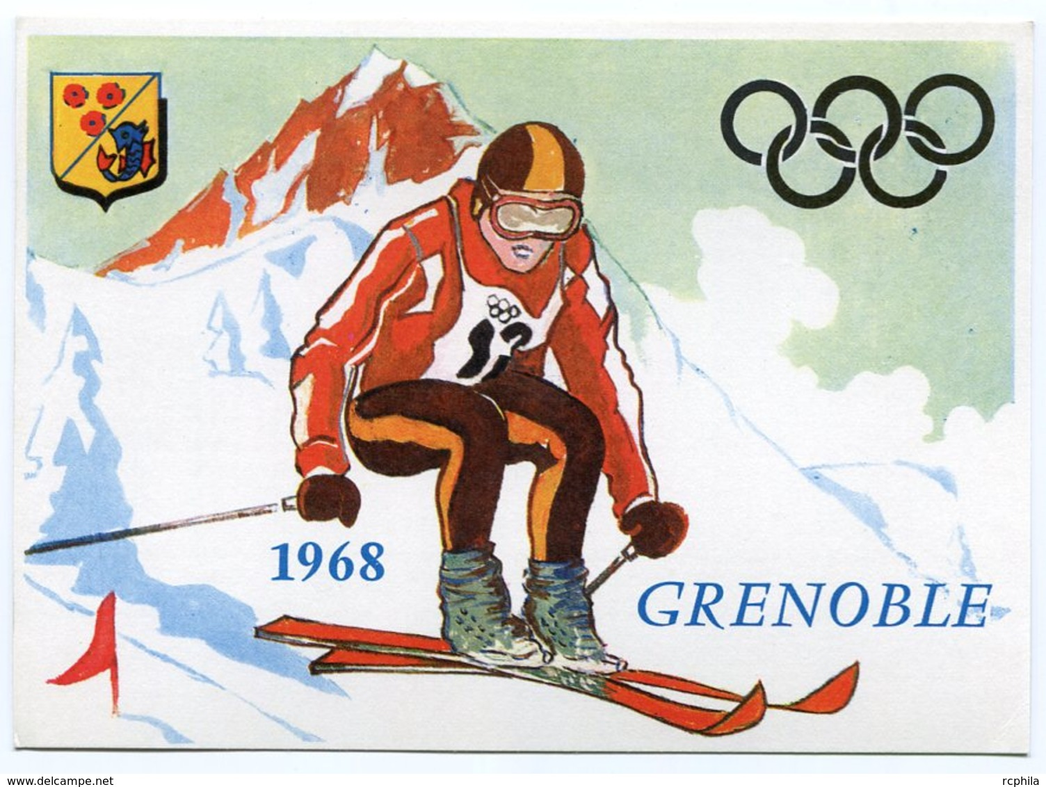 RC 9807 FRANCE JEUX OLYMPIQUES DE GRENOBLE 1968 SKI CARTE POSTALE NEUVE TB - Grenoble