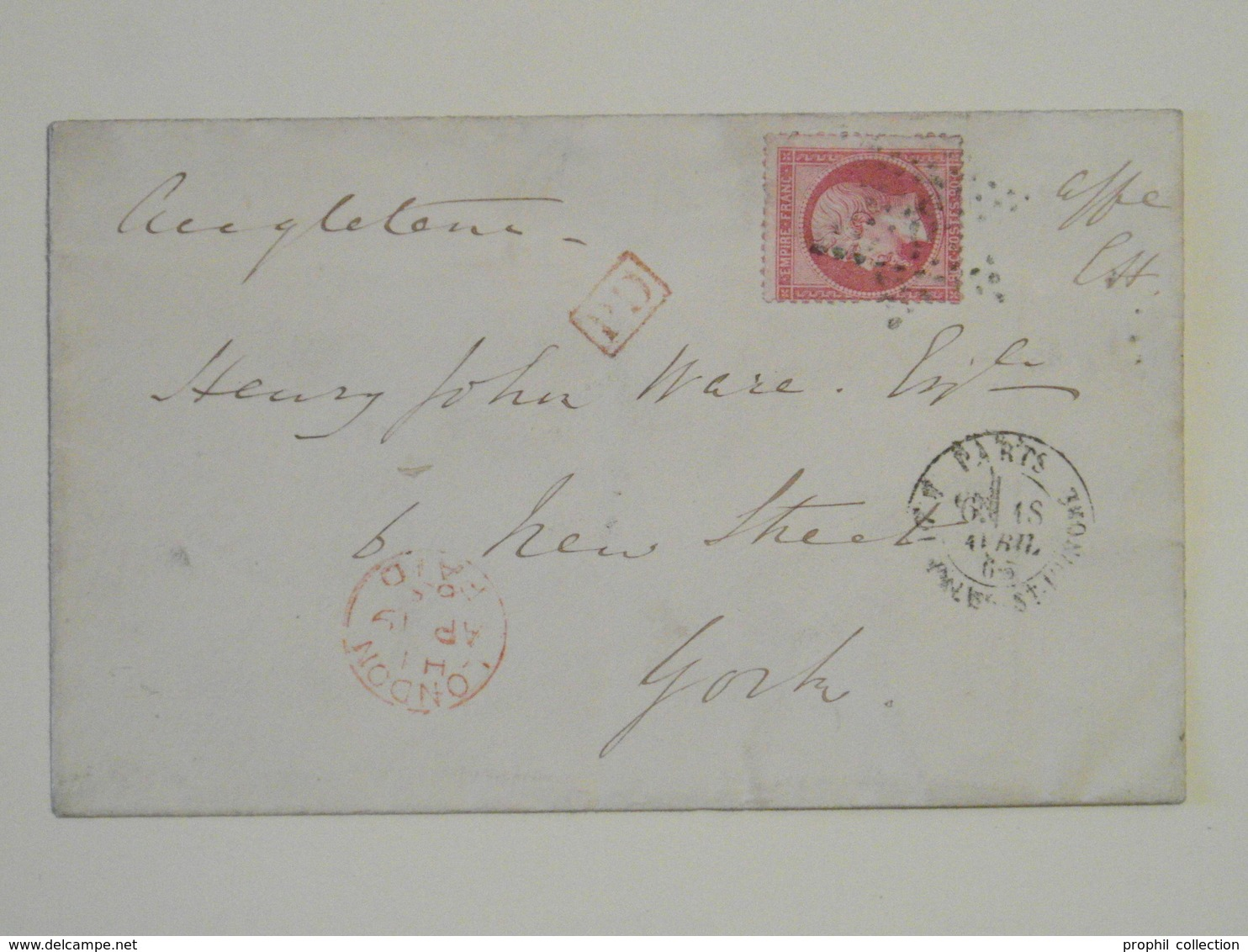 1865 - OBLITERATION ETOILE 9 CAD PARIS FAUBOURG ST HONORÉ Sur LETTRE LSC POUR YORK ANGLETERRE AFFRANCHIE NAPOLEON 24 - 1849-1876: Période Classique