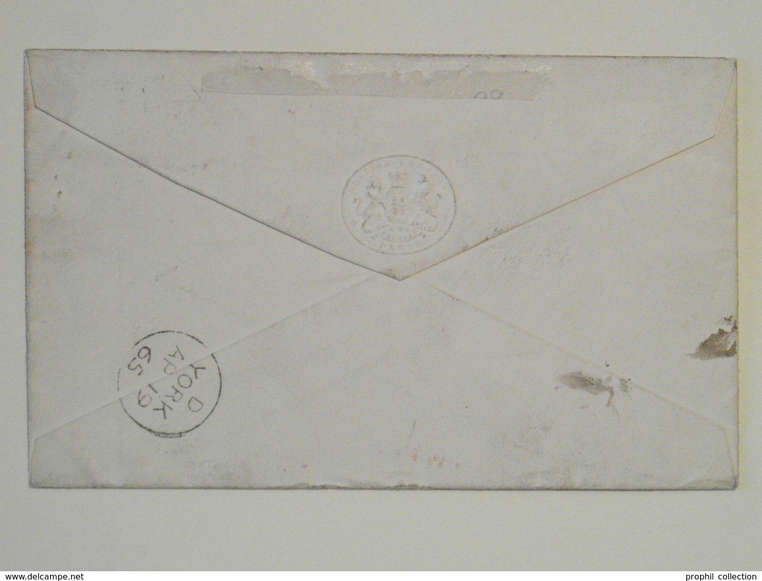 1865 - OBLITERATION ETOILE 9 CAD PARIS FAUBOURG ST HONORÉ Sur LETTRE LSC POUR YORK ANGLETERRE AFFRANCHIE NAPOLEON 24 - Marcofilia (sobres)