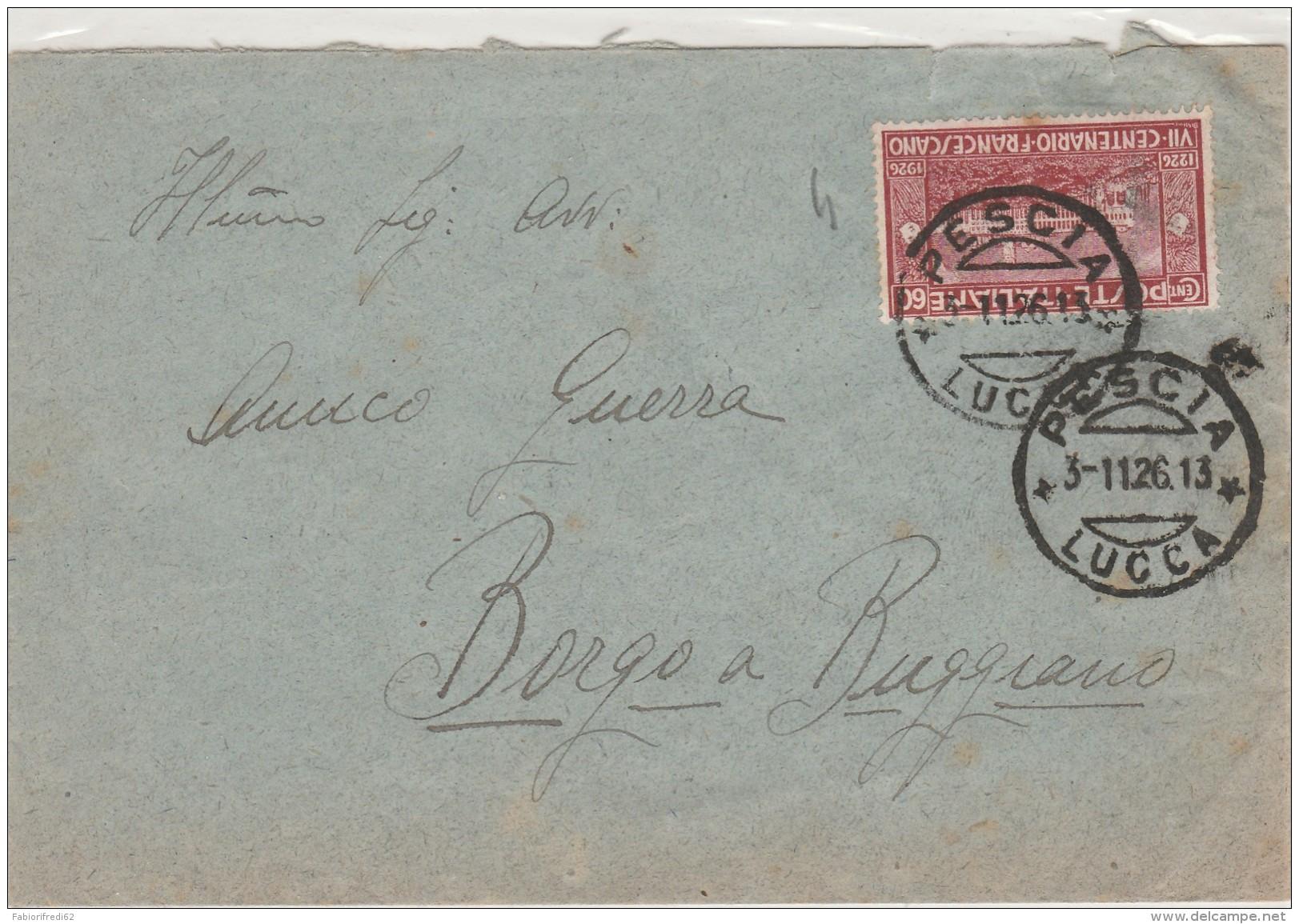 LETTERA 1926 CON 60 CENT. FRANCESCANO TIMBBRO PESCIA LUCCA (Z400 - Poststempel
