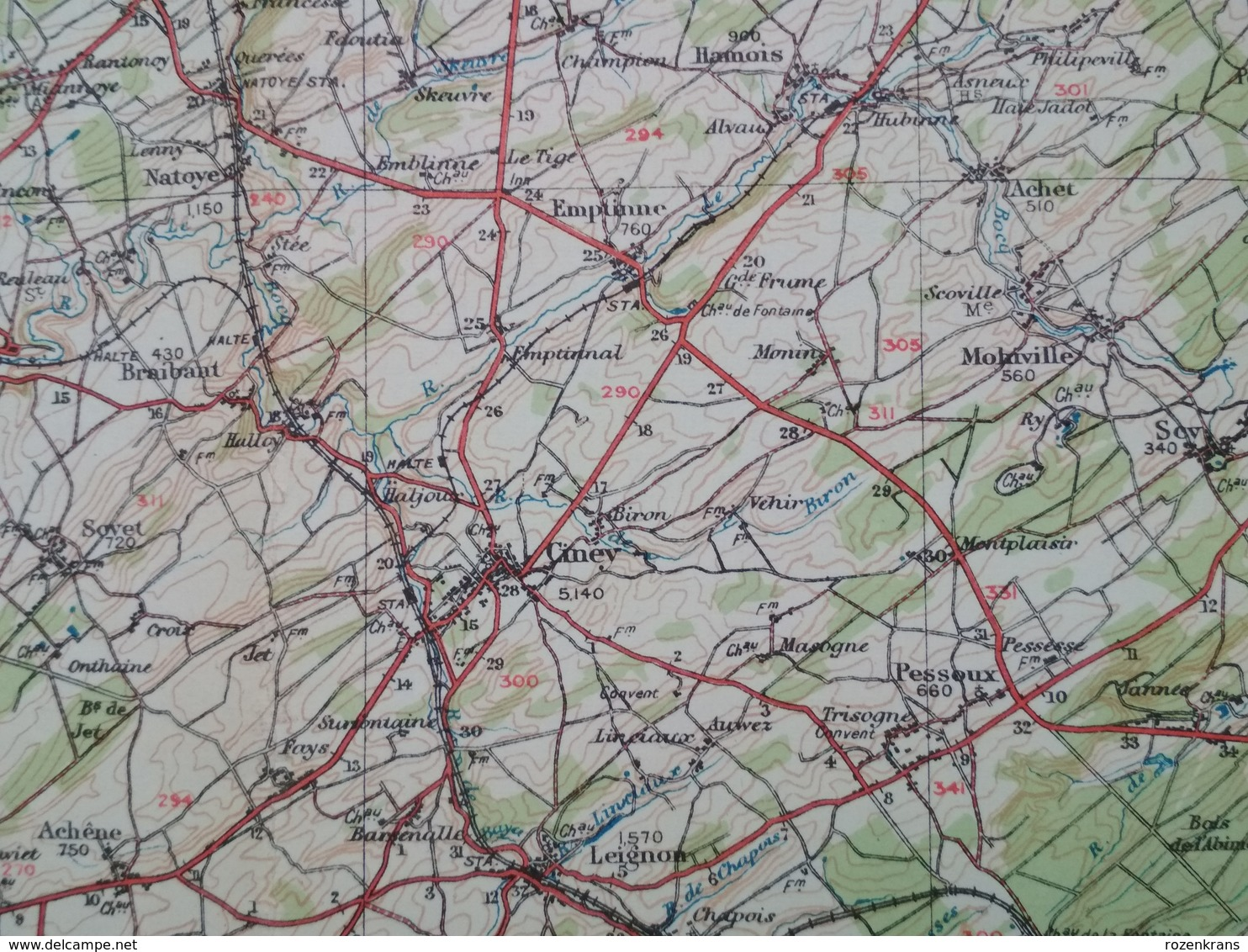 Carte Topographique Militaire UK War Office 1916 World War 1 WW1 Marche Durbuy La Roche Houffalize Aywaille Han Barvaux - Cartes Topographiques