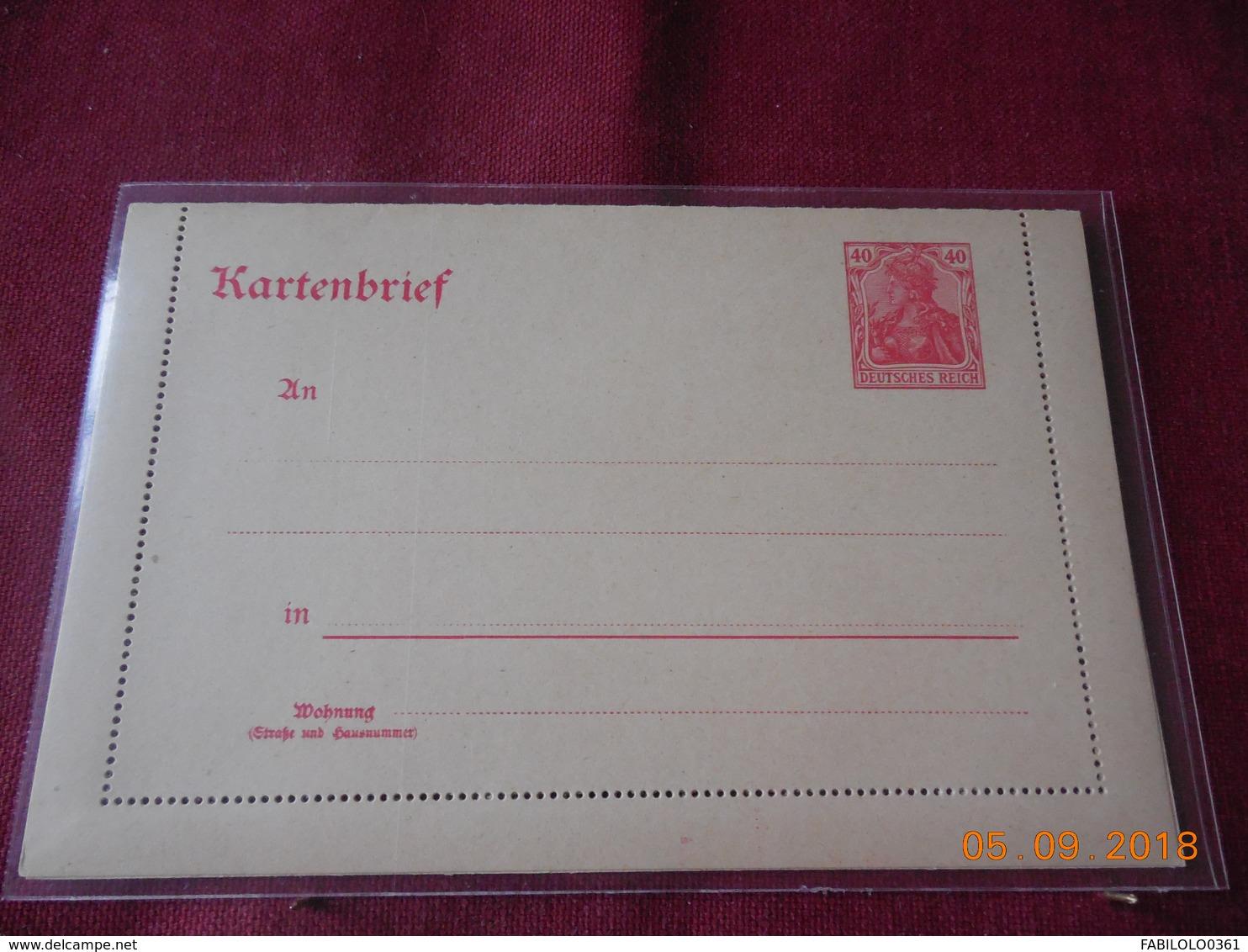 Entier Postal D Allemagne .Carte Lettre - Deutschland