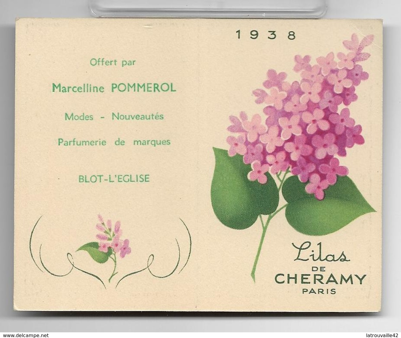 Ancienne Carte Et Calendrier Parfumé De 1938 LILAS De Cheramy . - Perfume Cards