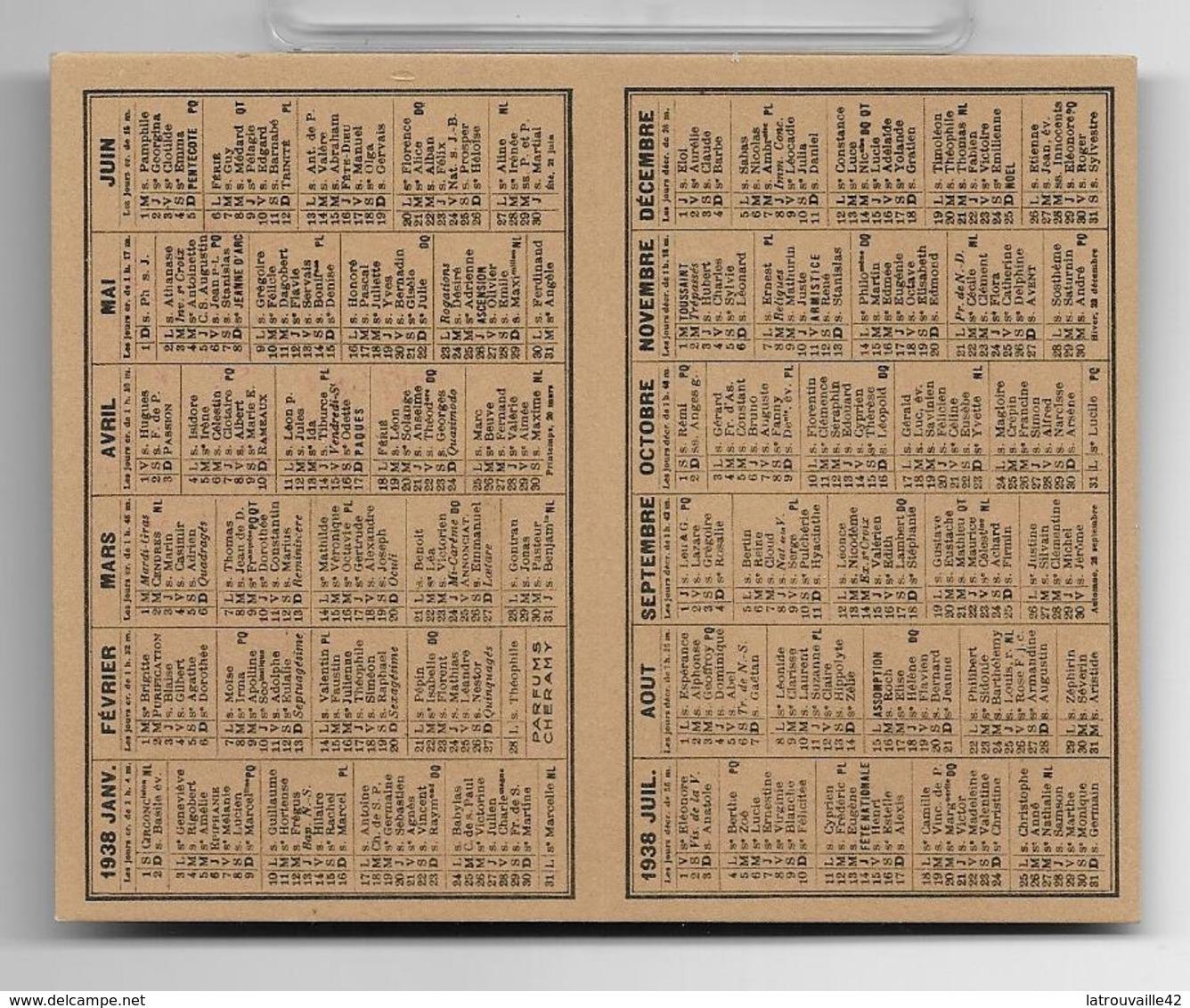 Ancienne Carte Et Calendrier Parfumé De 1938 OEILLET De Cheramy . - Perfume Cards