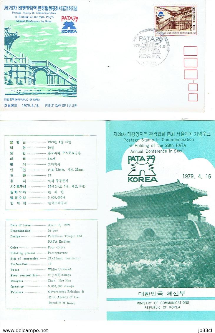 FDC 28th PATA Annual Conference In Seoul, 1979 4 16 Avec Feuillet Philatélique à L'intérieur - Corée Du Sud