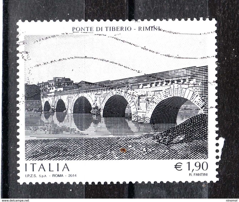 Italia  -  2014.  Ponte Tiberio A Rimini. Raro Usato - Ponti