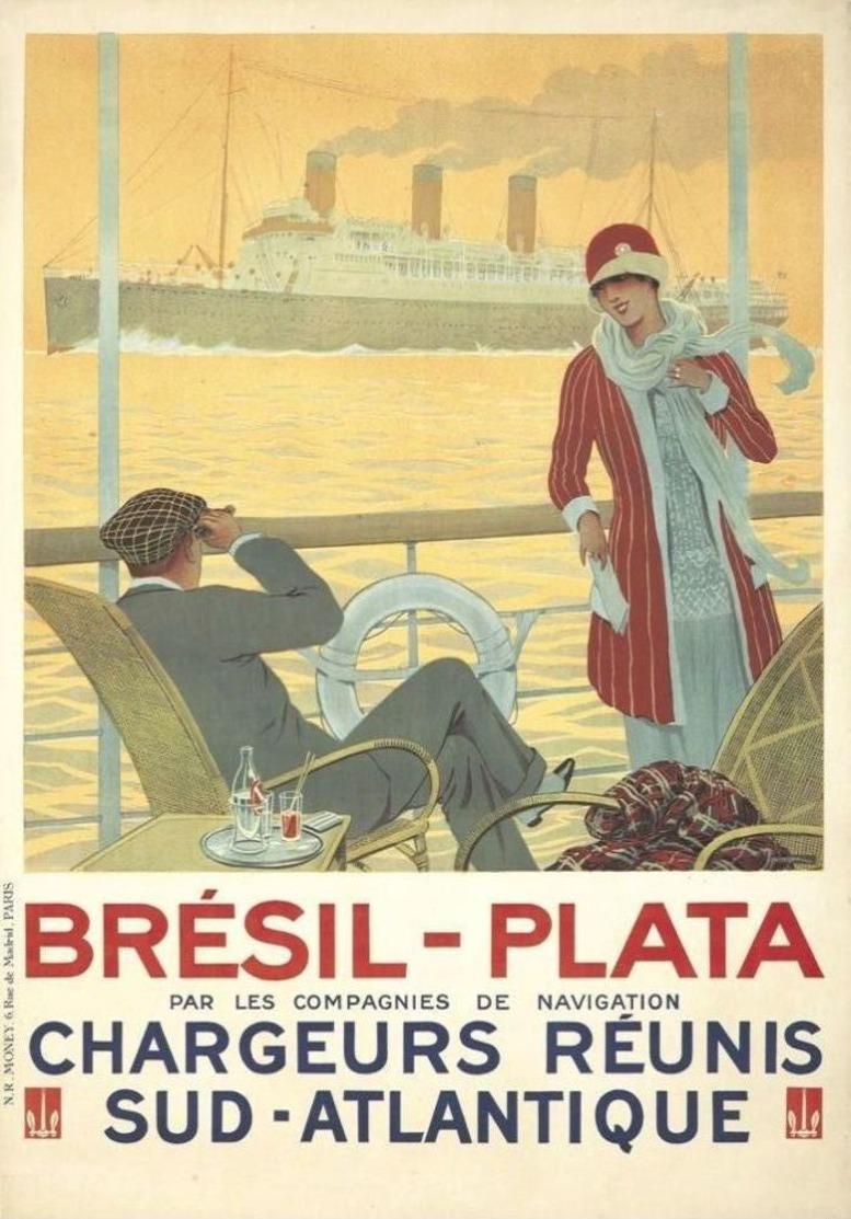 France Navigation Postcard Chargeurs Réunis Brésil-Plata 1920 - Reproduction - Reclame