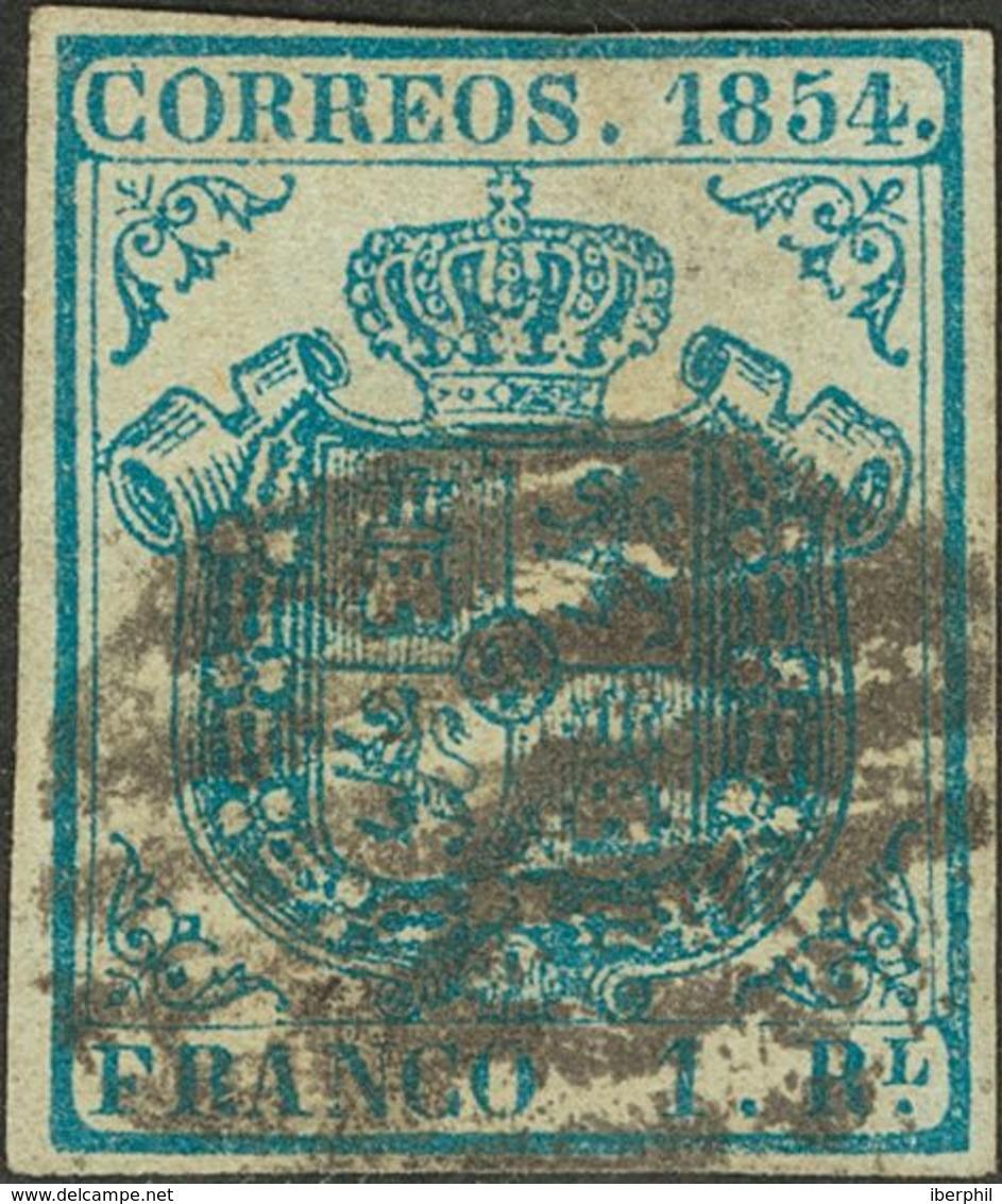 º34A. 1854. 1 Real Azul Claro (claridad En La Parte Central). MAGNIFICO Y MUY RARO. Cert. CEM. - Espagne