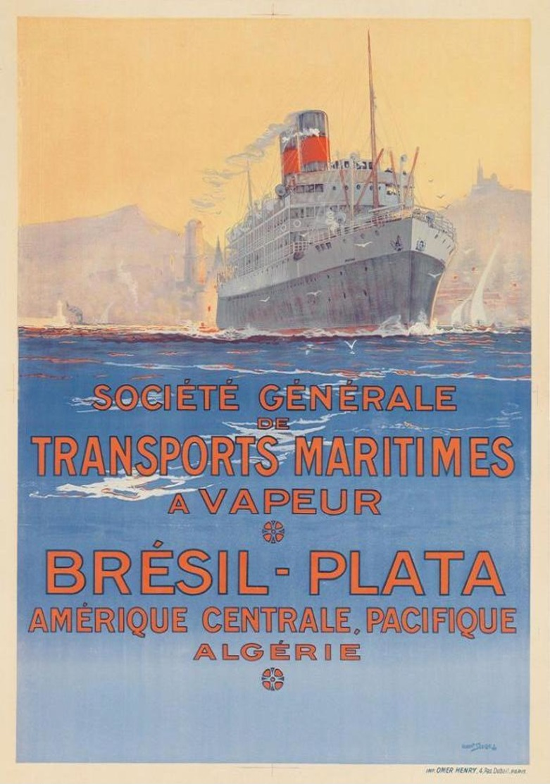 France Navigation Postcard S.G.T.M. Brésil-Plata 1921 - Reproduction - Publicité