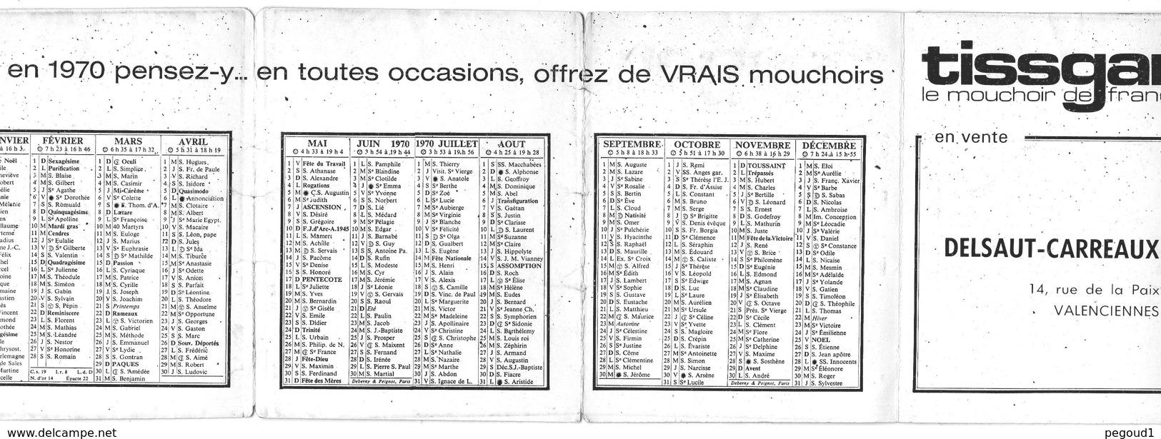 CALENDRIER DE POCHE 1970.VALENCIENNES(NORD).MAGASIN DELSAUT,RUE DE LA PAIX. HUMOUR. En Achat Immédiat - Calendriers