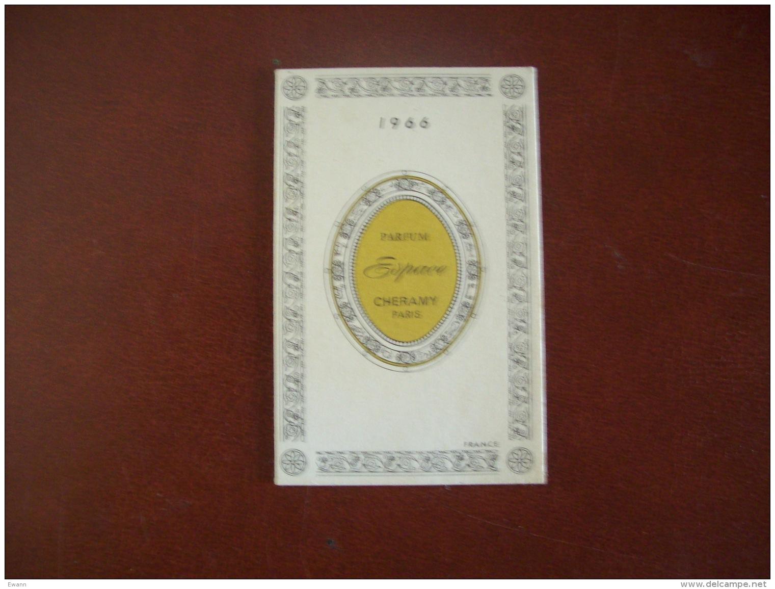 Calendrier Parfumé De 1966: Bernoues France, Parfum Espac, Cheramy, Paris-Publicité Coiffure G.Le Gall à Saumur (49) - Petit Format : 1961-70