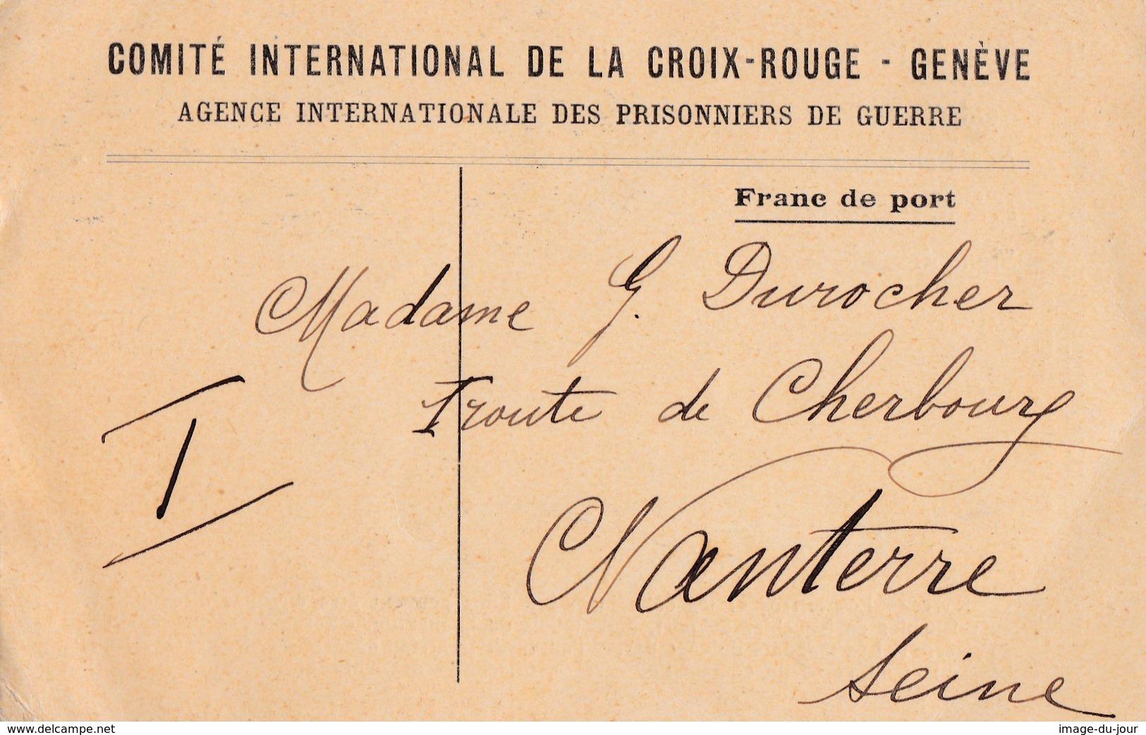 Comité International De La Croix Rouge Genéve Agence Des Prisonniers De Guerres Carte De Présence Camp Limburg - Marcophilie (Lettres)