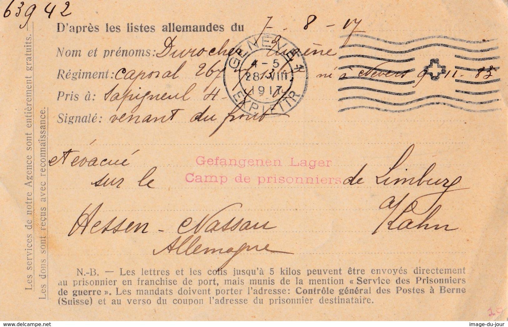 Comité International De La Croix Rouge Genéve Agence Des Prisonniers De Guerres Carte De Présence Camp Limburg - Guerre De 1914-18