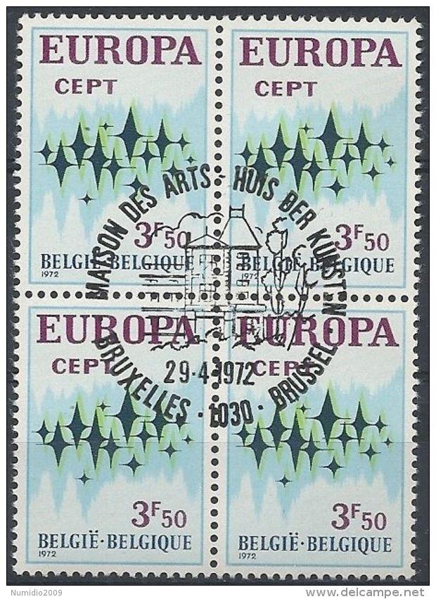 1972 BELGIO USATO EUROPA 3,50 F QUARTINA - Europa-CEPT