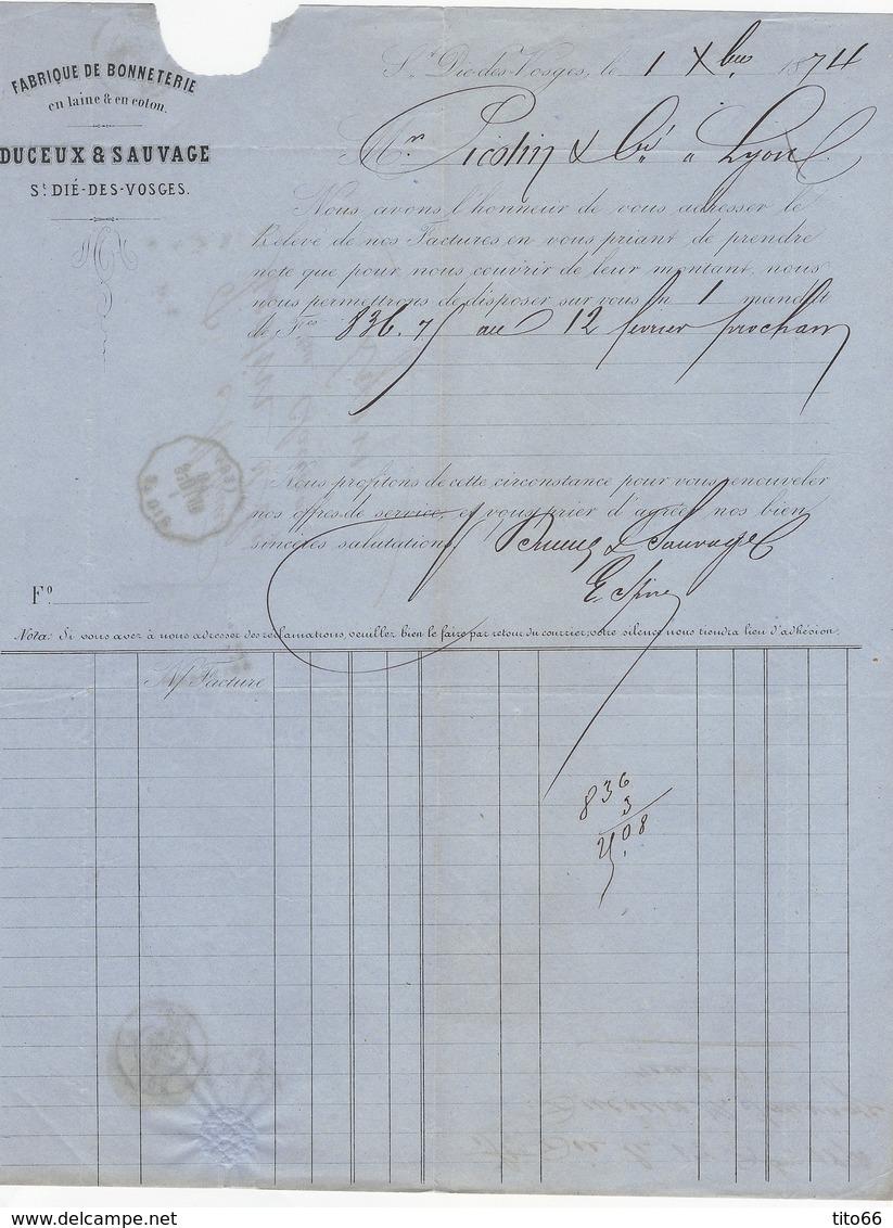 N°60C Sur Convoyeur Station De ST Dié Vers Lyon 1874 - Marcophilie (Lettres)