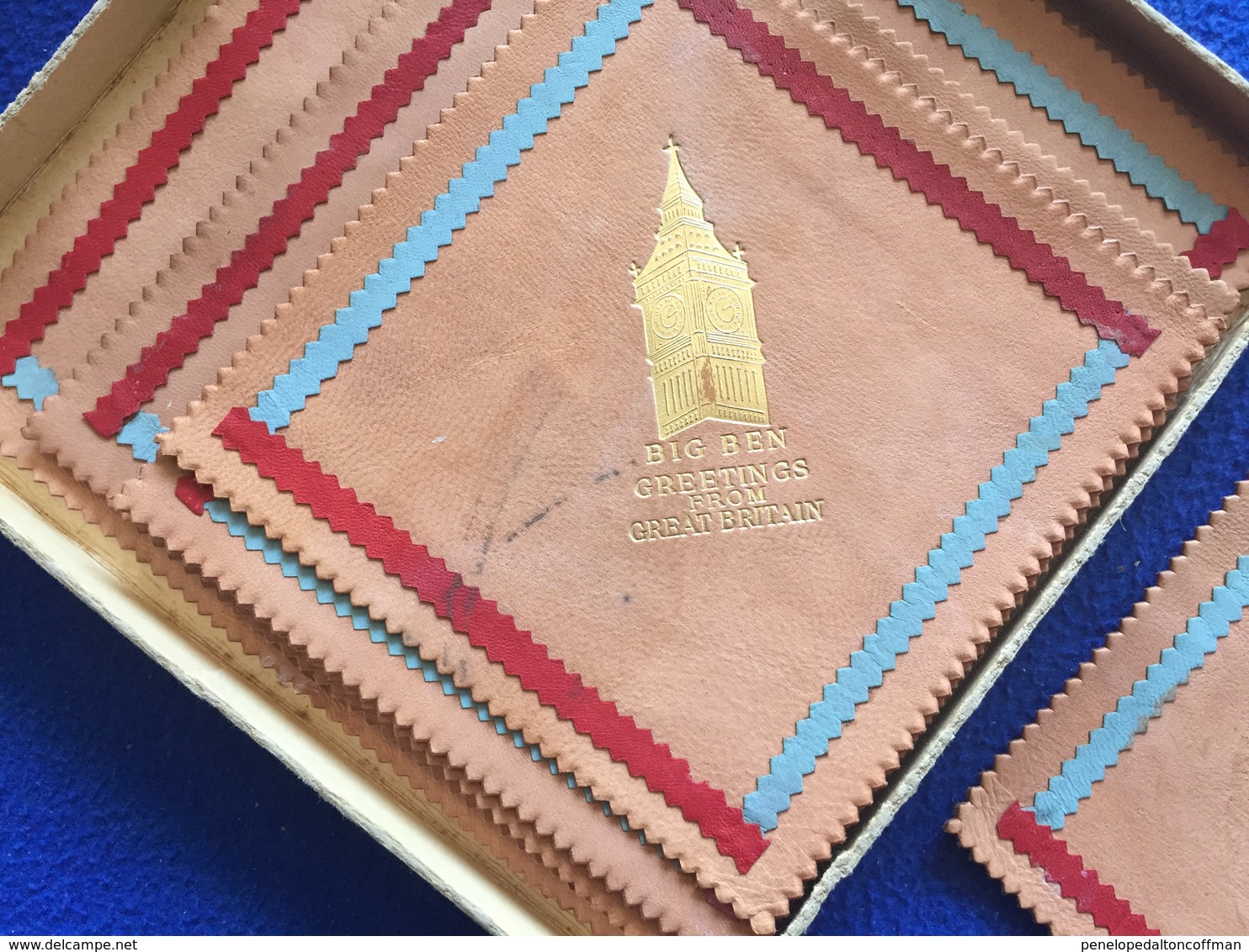 """Souvenir """"Big Ben Greetings From London"""" Leather Coasters 5.25"""" Inches Square, - Other"""