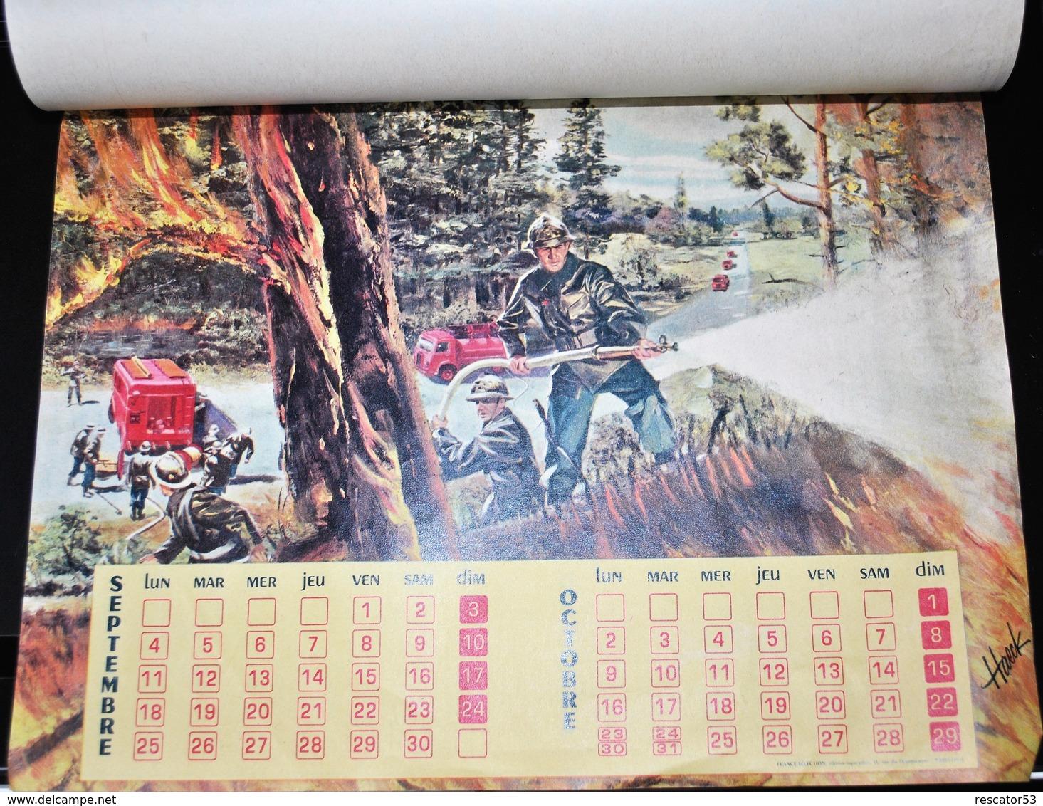 Rare Calendrier Pompiers De Chateau-Gontier 1961 Dessins De Haeck - Calendriers