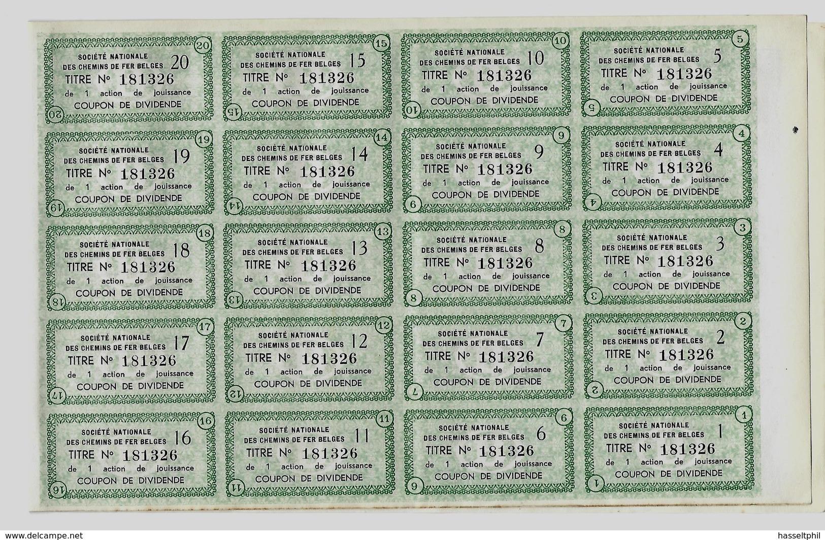 NMBS - 1 Winstaandeel - Brussel 1 September 1937 - Groen - Chemin De Fer & Tramway