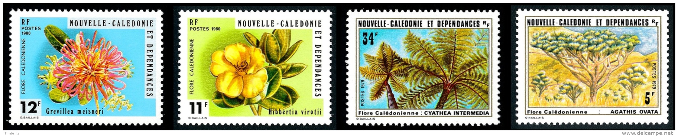 NOUV.-CALEDONIE 1979 - Yv. 431 432 436 437 **   Cote= 7,40 EUR - Flore: Aghatis, Cyathea, ... (4 Val.)  ..Réf.NCE23856 - Ungebraucht
