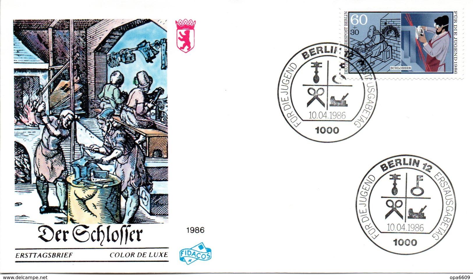 "Westberlin Schmuck-FDC Mi. 755 ""Handwerksberufe - Der Schlosser"" ESSt 10.4.1986 BERLIN 12 - Berufe"