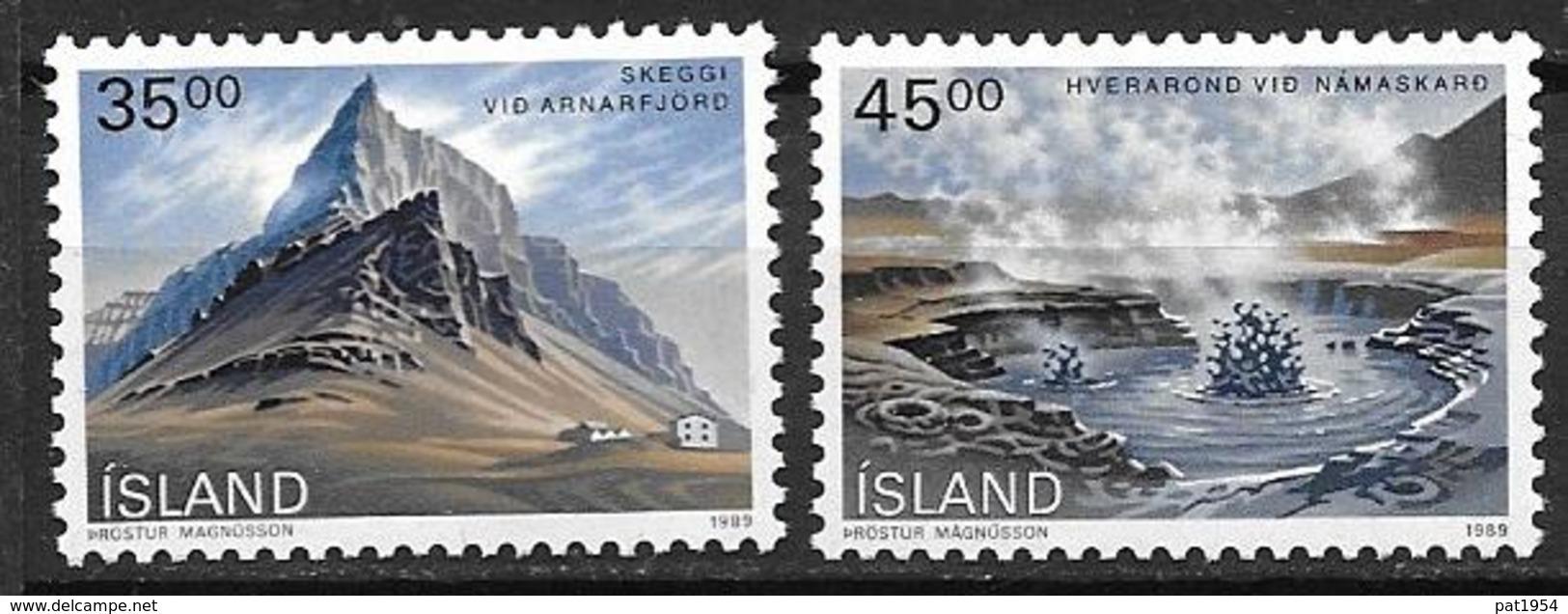 Islande 1989 N° 657/658 Neufs Paysages - 1944-... Republique