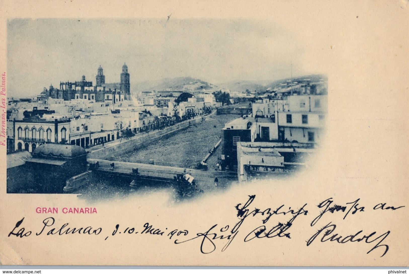 1900 , LAS PALMAS  - TARJETA POSTAL CIRCULADA A CHARLOTTENBURG,  LLEGADA , FR. ED. 218 , 10 CTS. BERMELLÓN - 1889-1931 Reino: Alfonso XIII