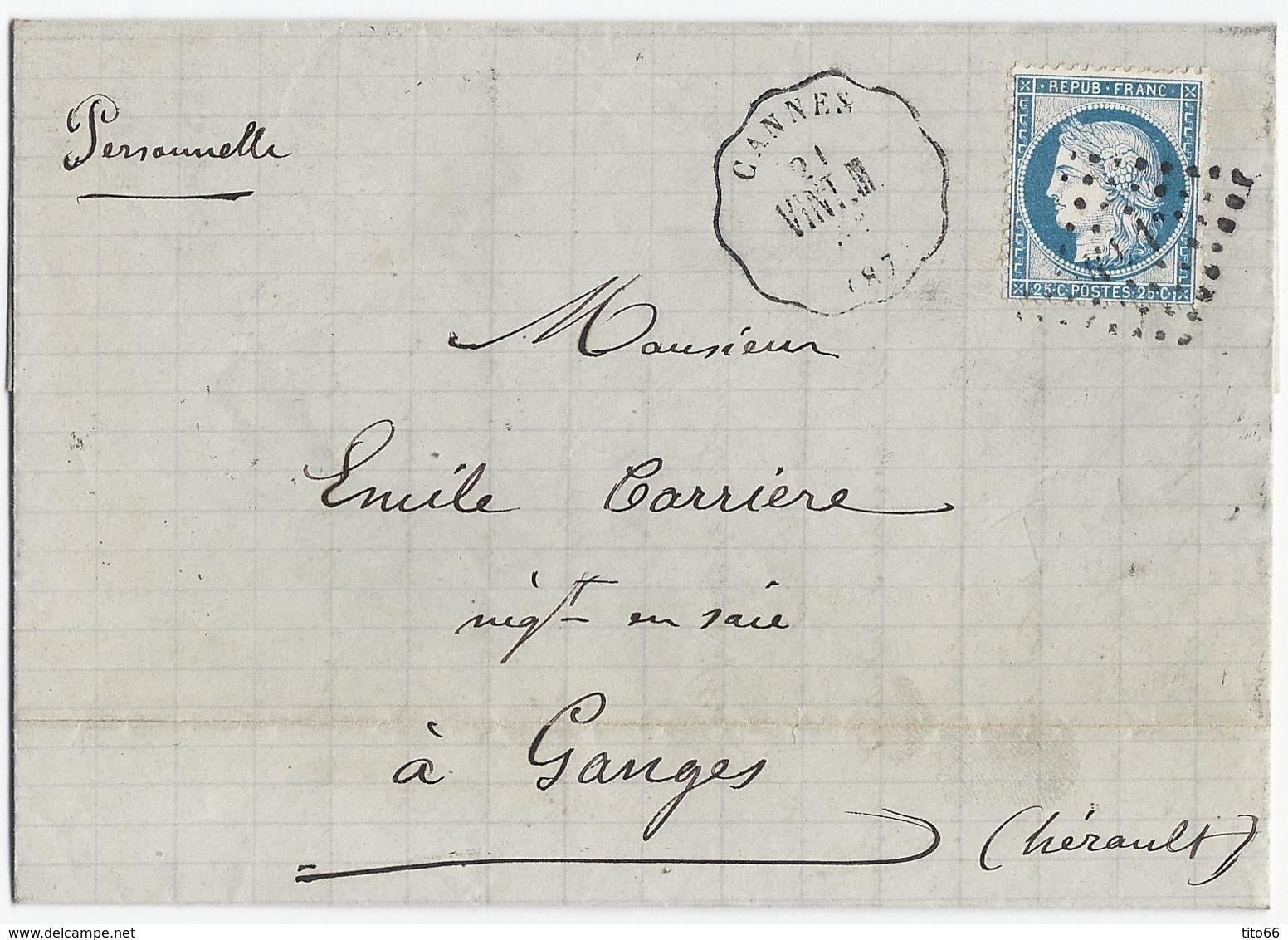 Lettre Avec Cérès N° 60 TAD Convoyeur Station Cannes 20/9/1873 - Marcophilie (Lettres)