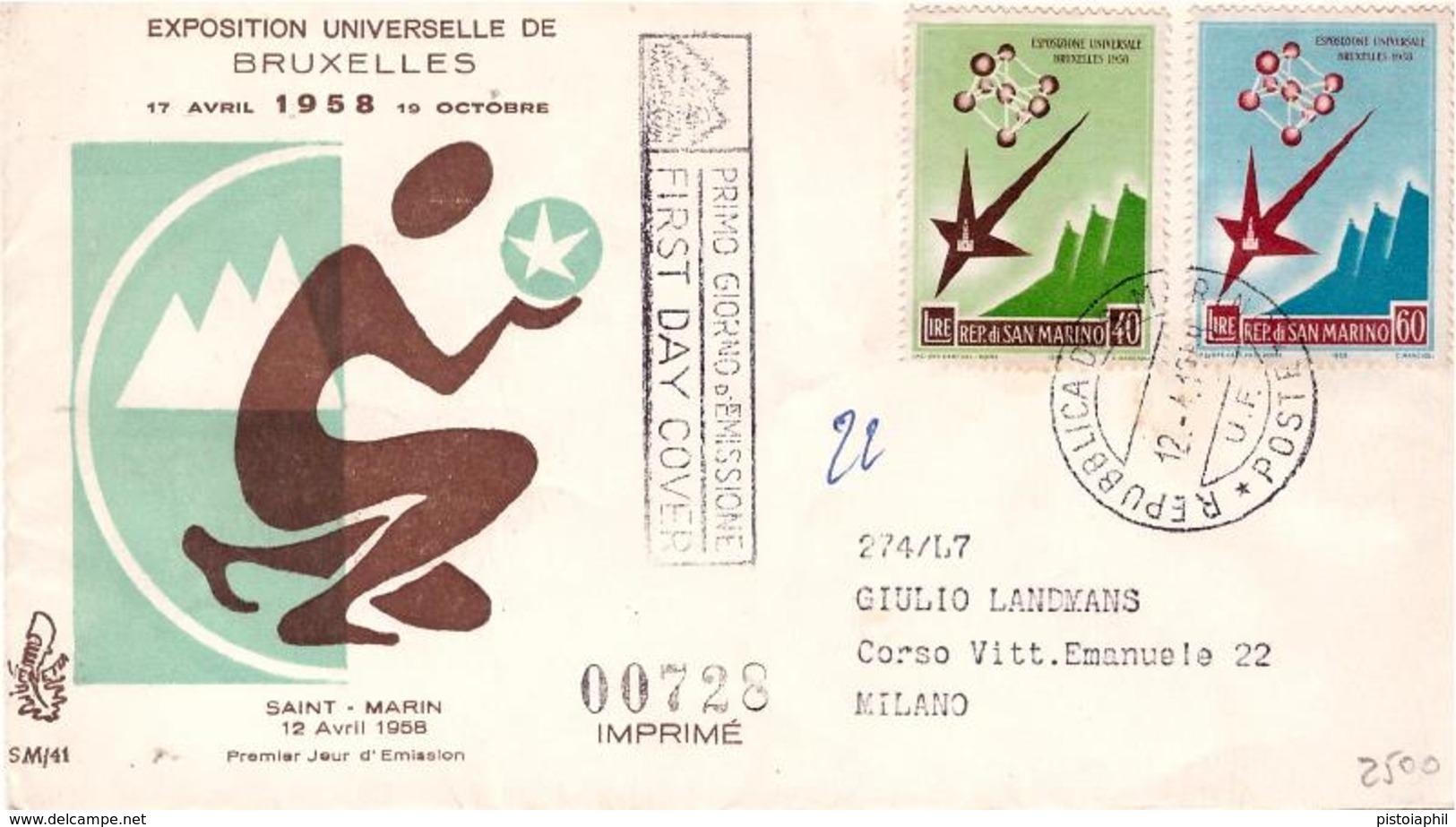 Fdc Venetia 1958: ESPOSIZIONE DI BRUXELLES, Raccomandata - FDC