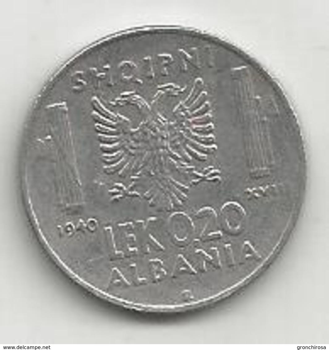 Albania Italiana, 1940, 0,20 Lek, Vittorio Emanuele. - Albania