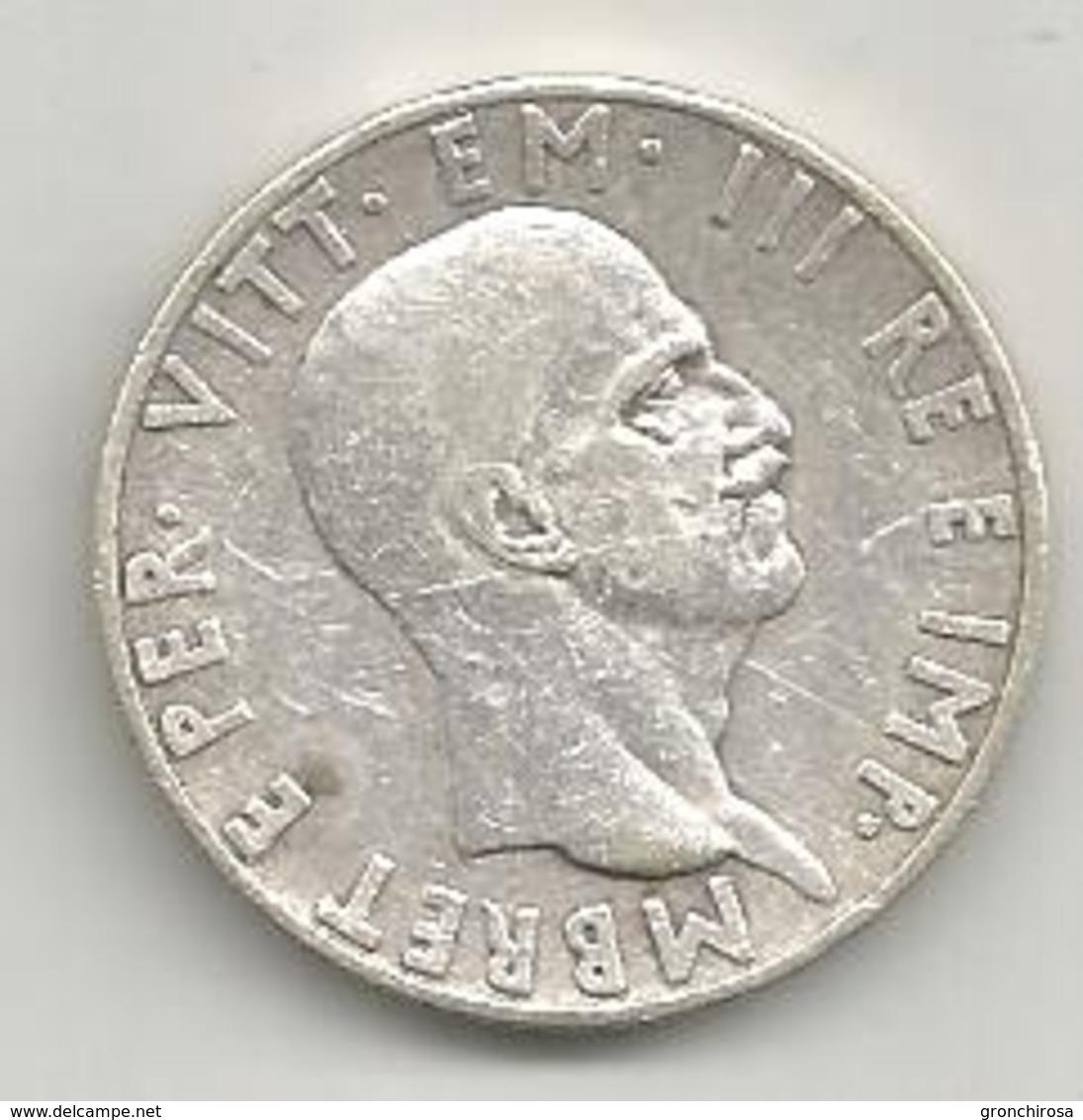 Albania Italiana, 1939, 10 Lek Ag., Vittorio Emanuele. - Albania