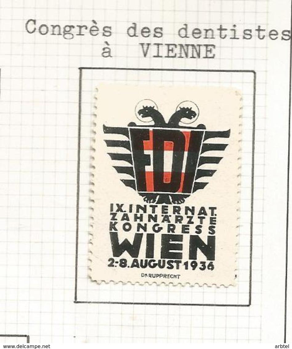 AUSTRIA VIÑETA 1936 WIEN CONGRESO DENTISTAS DENTIST ZAHNARZTE TOOTH MEDICINA - Vacaciones & Turismo