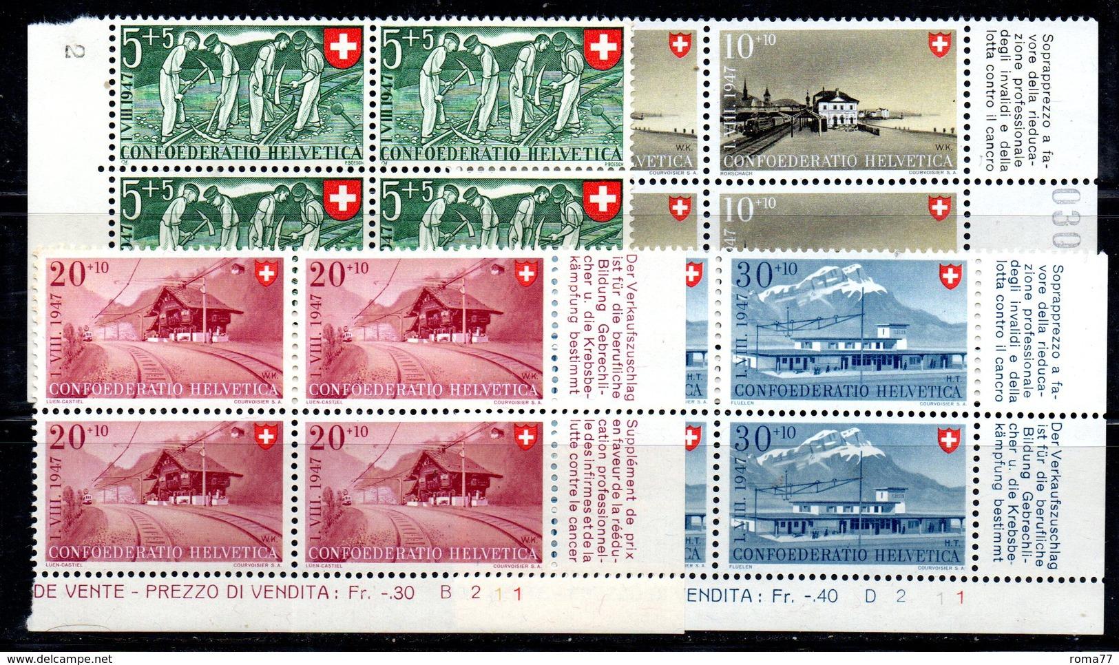 60/1500 - SVIZZERA 1947 , Pro Patria Serie N. 437/440 : Quartina Integra *** MNH - Pro Patria