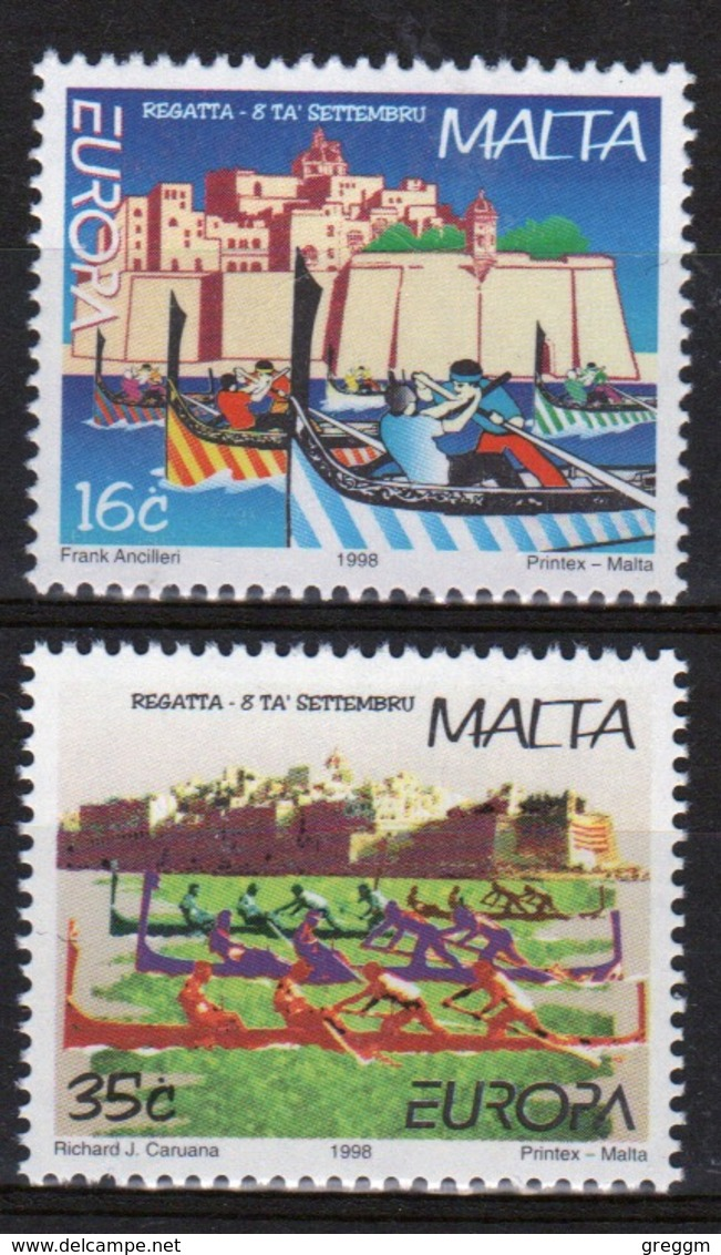 Malta 1998 Set Of Stamps To Celebrate Europa Sailing Regatta Grand Harbour. - Malta