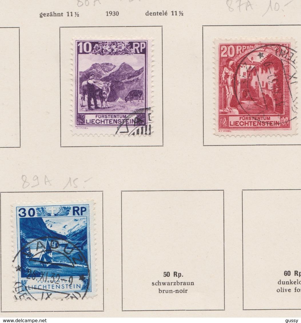 LIECHTENSTEIN 1930:   3 Timbres Oblitérés,    TTB - Collections