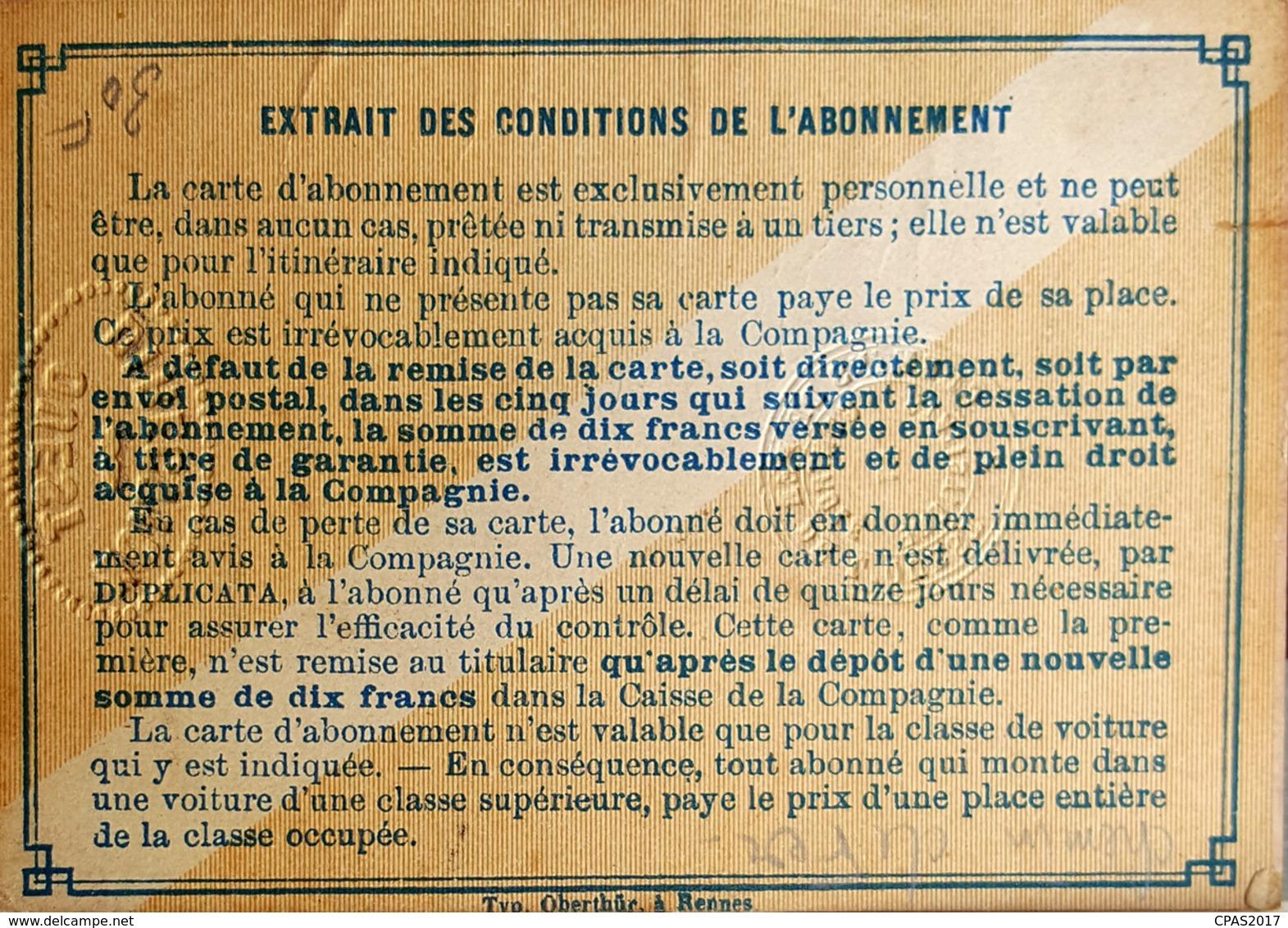 Carte D'abonnement Chemin De Fer De L'Ouest (1887) - Abonnements Hebdomadaires & Mensuels