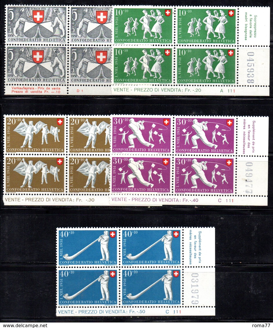 69/1500 - SVIZZERA 1941 , Pro Patria Serie N. 497/501 : Quartina Integra *** MNH - Pro Patria