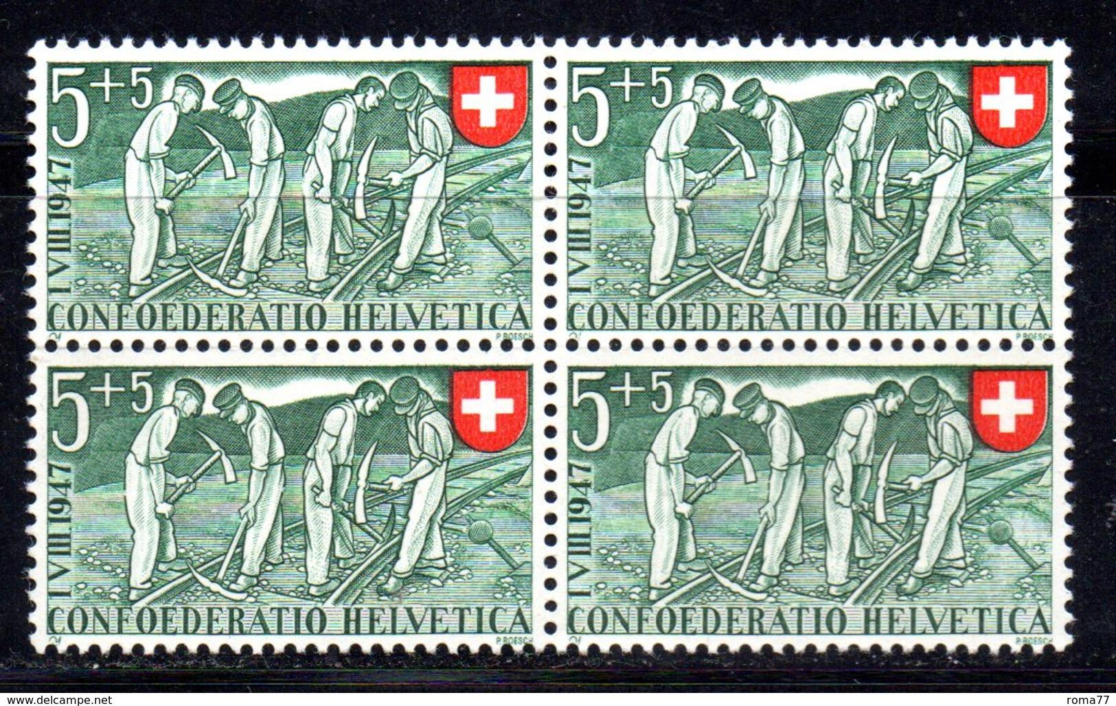 77/1500 - SVIZZERA 1947 ,  N. 437 : Quartina Integra *** MNH - Nuovi