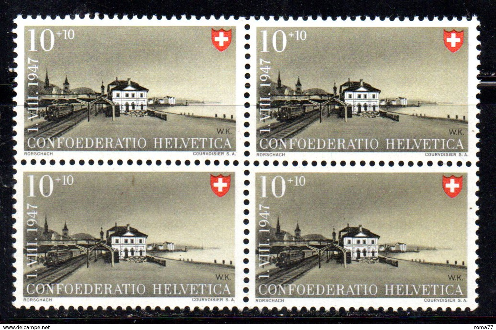 78/1500 - SVIZZERA 1947 ,  N. 438 : Quartina Integra *** MNH - Pro Patria