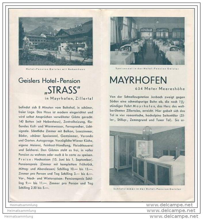 Mayrhofen 30er Jahre - Geisslers Hotel Und Pension Strass - Faltblatt Mit 8 Abbildungen - Oesterreich