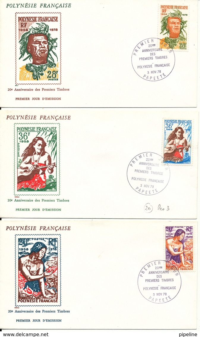 French Polynesia FDC 3-11-1978 20th Anniversary Of Polynesian Stamps Complete Set Of 3 On 3 Cover With Cachet - FDC
