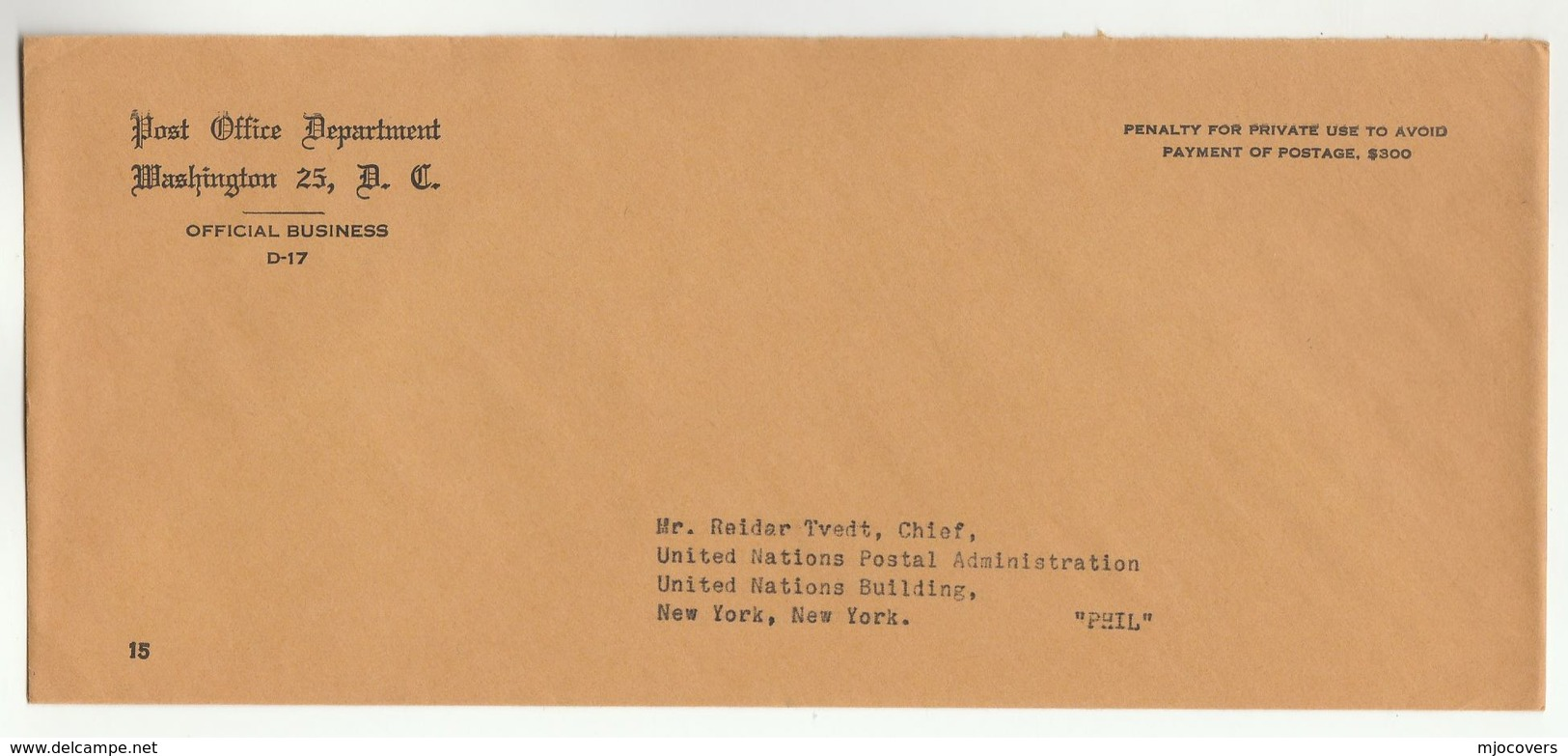 US POST OFFICE DEPT Washington To UNITED NATIONS POSTAL ADMIN USA Official Business COVER Un - UNO