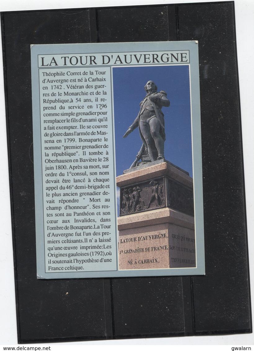 France 1 Carte Postale Carhaix Année 1993 Statue De La Tour D'Auvergne - Timbre Oblitéré 2853 - Carhaix-Plouguer