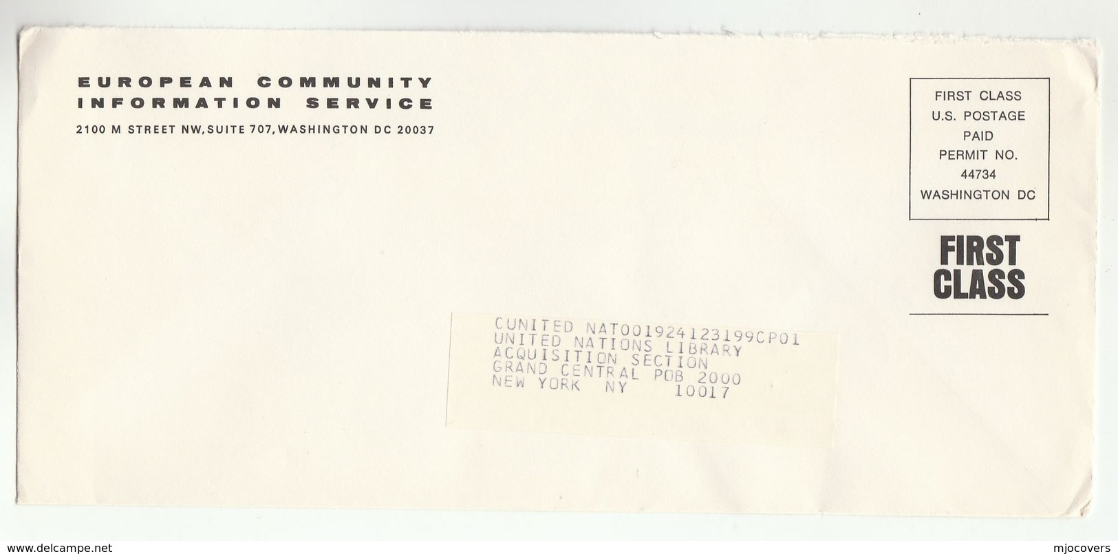 EUROPEAN COMMUNITY INFORMATION SERVICE Washington USA COVER Postage Paid Permit Stamps  To UN UNITED NATIONS - European Community