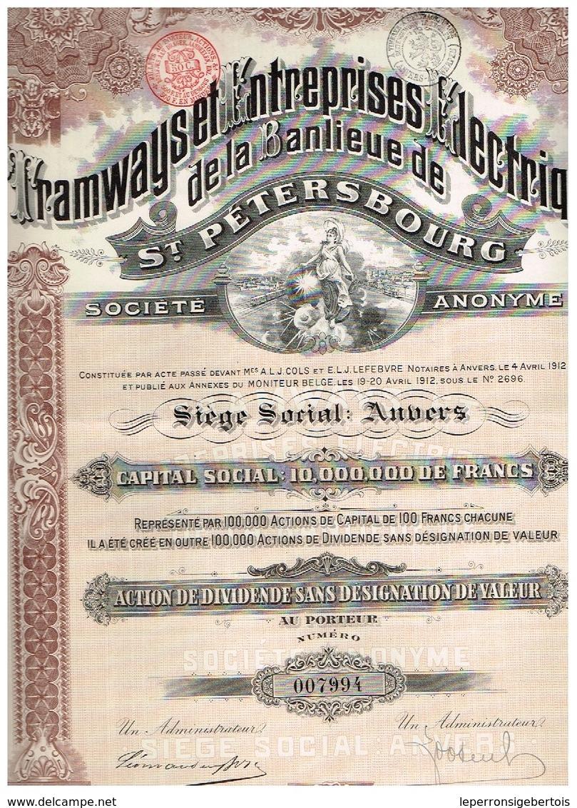 Ancienne Action - Tramways Et Entreprises Electriques De La Banlieue De St-Pétersbourg - Titre De 1912 - N° 007994 - Chemin De Fer & Tramway